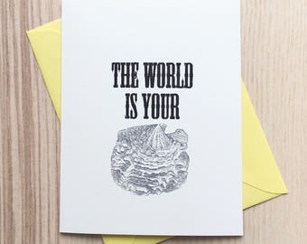 The World Is Your Oyster Vintage Gocco Greeting Card