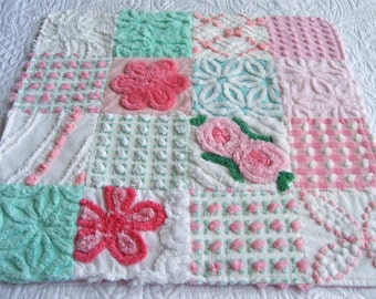 """Pink Aqua and White Soft and Fluffy Cotton Vintage Chenille Baby Accessory - """"Blankie""""  for Baby or Dollies -  20"""" x 20"""" - Custom Order"""