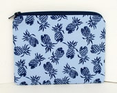 Small Zippered Pouch Bag, Navy Blue Pineapple Party, Tropical Fruit Change Purse