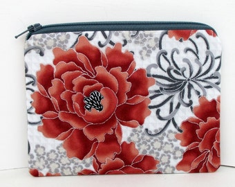 Zipper Pouch, Small Zippered Bag, Narumi Metallic Mums, Silver and Red Holiday Floral