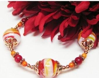 40% off Red Orange Lampwork Bracelet - Red Jewelry - Lampwork and Copper Bracelet - Gemstone Bracelet - Multicolor Bracelet - Colorful Brace