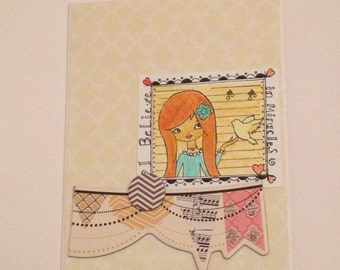 Get Well Card for a Girl, I Believe in Miracles, Encouragement Card for Teenage Girl, REDUCED PRICE