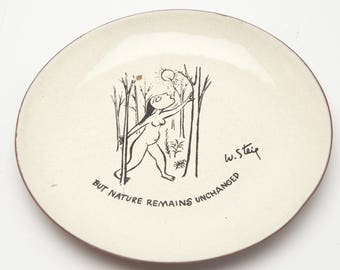 "Vintage Bernad W. William Steig Enameled Copper Plate ""But Nature Remains Unchanged"" Naked Woman MCM Artwork"