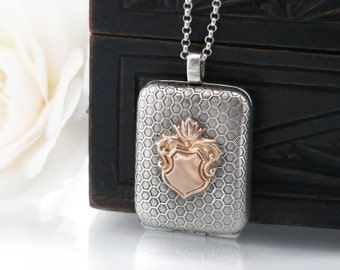 Antique Locket   Victorian Sterling Silver Locket   Honeycomb Silver Rectangle Locket with Rose Gold Shield - 20 Inch Sterling Silver Chain