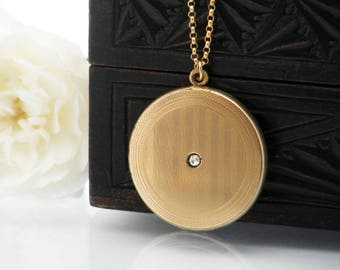 Antique Locket | Matte Gold Victorian Locket Necklace | Large Pinstriped Round Gold Photo Locket with Crystal | 'E' Monogram - 20 inch Chain
