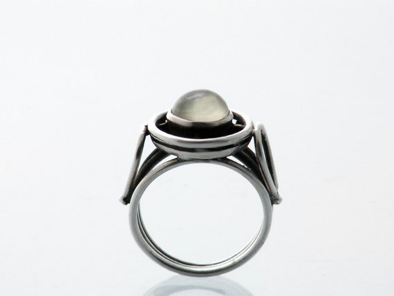 Vintage Moonstone Ring | Sterling Silver Moonstone Cabochon | Artisan Made | Arts & Crafts Moonstone Ring - US Ring Size 6, UK Ring Size M