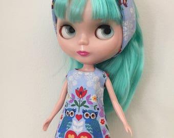 Owl Shift Dress and plush friend set for Blythe