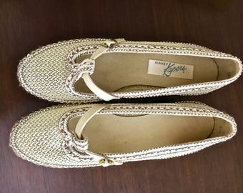 Vintage Womens Shoes Kinney Kapers Summer Shoes with Box 1960s Mesh Shoes Size 7 medium