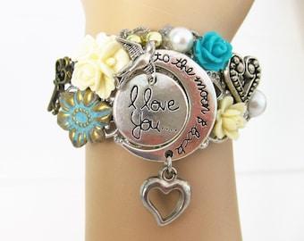 Cuff Bracelets, Silver Jewelry, Silver Bracelet, Silver Cuff Bracelets, Assemblage Bracelets, Blue Bracelets, Blue Jewelry, Hearts,  B315