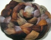 Merino & tussah silk roving - hand painted spinning felting fiber - 4.8 oz First Frost - earthy hand dyed wool top - fiber art roving