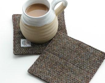 HARRIS TWEED Coasters , drinks mats, brown, pair