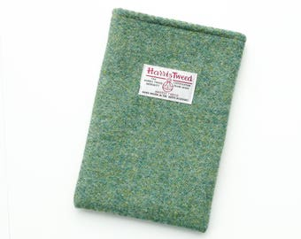 iPad Mini 4 padded sleeve in green HARRIS TWEED, made in Scotland, custom made to fit any tablet