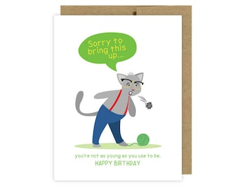 Cat Hairball Birthday Card, Cat Birthday Card, Old Birthday Card, Adult Birthday Card