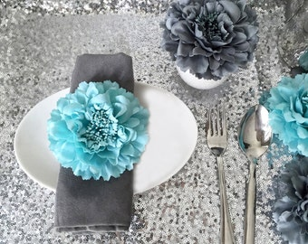 10 Pieces Set. 4.2inch Aqua Blue Grey Artificial Peonies Floral Napkin Rings. Turquoise Flower Napkin Holders. Gray Blue Wedding Table Decor