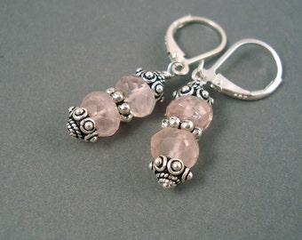 Rose Quartz Earrings, Rose Quartz Large Rondelles and  Sterling Silver Beads