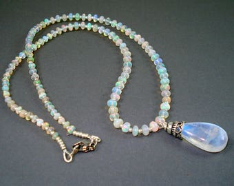Opal Necklace with Moonstone Pendant, Ethiopian Opals and Rainbow Moonstone Pendant Necklace, Real Opal Necklace