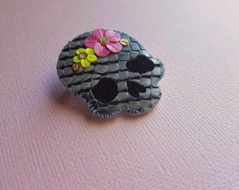 Floral Skull Pin no. 2