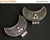 BLACK FRIDAY SALE Two (2) Viking Brooches. Silver Apron Pins. Crescent Moon Turtle Brooch Set. Shoulder Brooches. Norse Jewelry. Historical