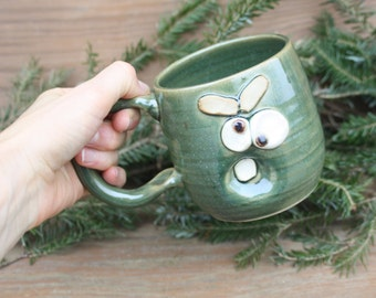 Wife Mom Mother Girlfriend Mug. Funny Woman Gift Swap Coffee Cup. Stressed Out Worried Face Mug in Green. Handmade Stoneware Pottery Tea Cup