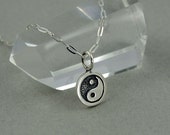 Ying Yang Necklace - Sterling Silver Tiny Charm Necklace, Girls Jewelry, Girls Necklace, Tiny Charms, Charm Bracelet Charms