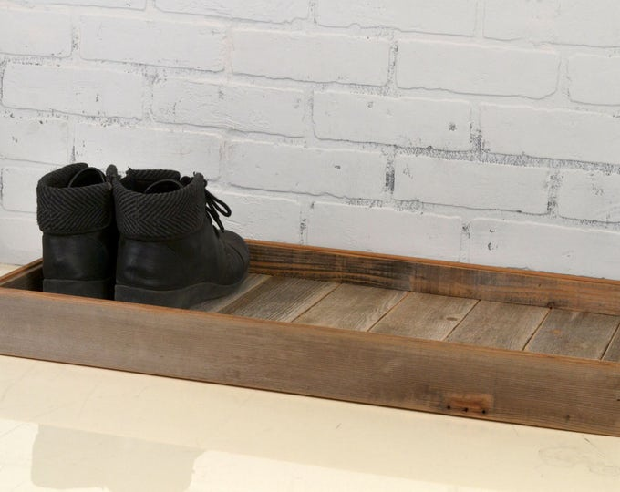 Boot Tray Made from Reclaimed Wood - Shoe Storage Entryway Organization - 27 inches Long by 15 inches Wide - IN STOCK - Same Day Shipping