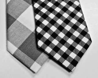 Black and White Gingham Mens Neckties, Wedding Neckties, Cotton Neckties