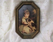 Vintage Antique Children Picture Wall Hanging French