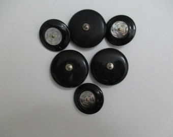 6 Black Vintage Buttons