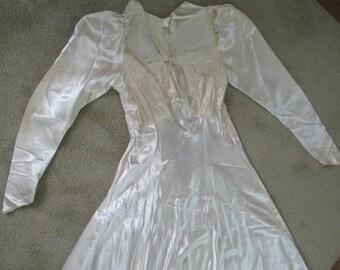 Beautiful Vintage Antique Wedding Dress Cutter or Repair Satin Fabric