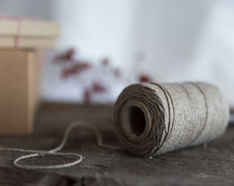 Linen twine - Linen cord spool - Gift wrapping yarn - Natural color linen twine - Decorative rope