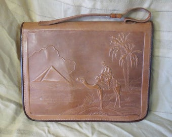 VINTAGE 1970's Egyptian Leather Bag Purse, Pyramid, Camel Scene, made in Egypt, Hand stamped leather, Leather Case, Leather Handbag,