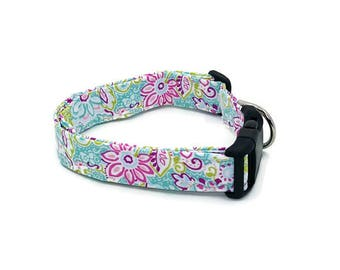 It's A Preppy Thing Bright Floral Swirls Teal Pink Green Dog Collar