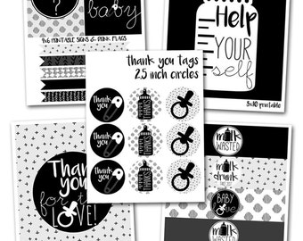 Black and White Baby Shower Printables