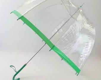 Vintage Clear Bubble Umbrella • Vintage Mod Plastic Umbrella with Green Handle and Trim • Vintage Made in Hong Kong Vinyl Umbrella