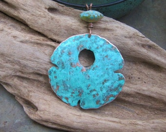 Copper Jewelry Pendant Designer Abstract Medallion Lampwork Bead