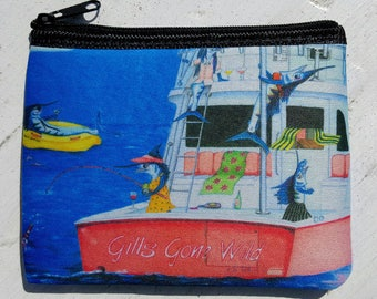 Gills Gone Wild humorous ladies fishing art Coin Purse zippered pouch neoprene
