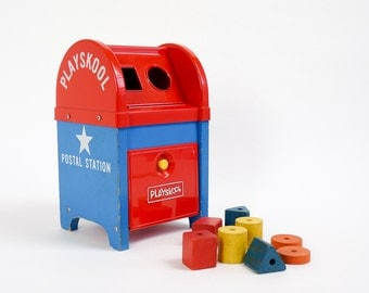 Vintage 1960s Toddler Toy / Playskool Postal Station Toy 1969 / Dexterity Color Shape Learning Toy, Missing Stringer