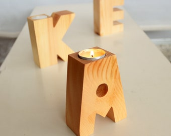 Natural Wood Letter Candle Holder Personalized Unfinished Wooden Tealight Holder Centerpiece Rustic Home Decor House Decoration Warming Gift