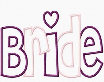 Bride 2 Color and Single Color Digital Embroidery Machine Applique Design 2923