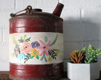 Antique Metal Gas Can-Floral
