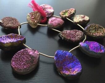 Purple Pink Druzy Briolettes (No. 1567)
