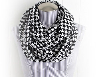 Black and White Houndstooth Print Flannel Infinity Scarf