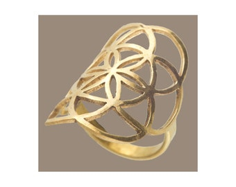 Seed Of Life Brass Ring, Sacred Geometry Jewelry, Brass Ring, Brass Jewellery, protection jewelry, tribal ring, flower of life, symbol ring