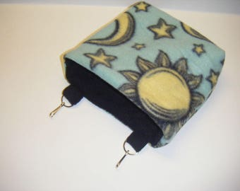 Sugar Glider Pouch, Cage Pouch, Cage Accessory, Black Fleece, Fleece Tabs, Hamster Pouch, CooperStudios