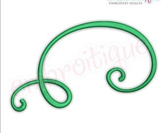 Curly Swirly Calligraphy Flourish Accent Embellishment 9  -Instant Download Machine Embroidery Design