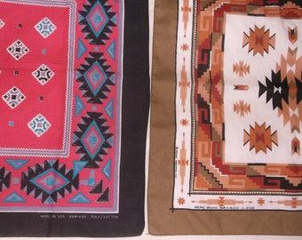2 Vintage southwestern Bandannas • cotton poly bandana lot
