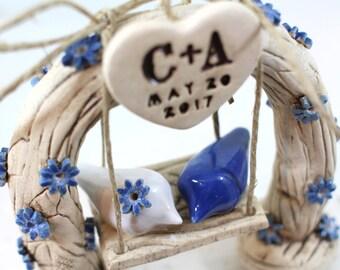 Custom bird wedding cake topper Love birds wedding cake topper Wedding decoration Rustic wedding cake topper