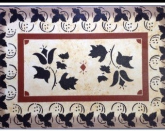 Canvas Floorcloth - Leaves and Tulips on Mottled Ivory - 2'x 3'