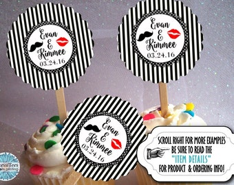 12 Cupcake Picks, Cupcake Topper Decorations, Lips & Mustache, Wedding Reception, Engagement Party, Rehearsal Dinner, Bridal Shower