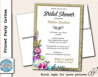 Printed Party Invitations, Printed Invites with Envelopes, Watercolor Florals, Flowers, Bridal or Baby Shower, Birthday, Quinceanera